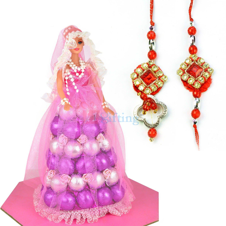 Beautiful Diamond Pair Rakhi with Chocolate Doll