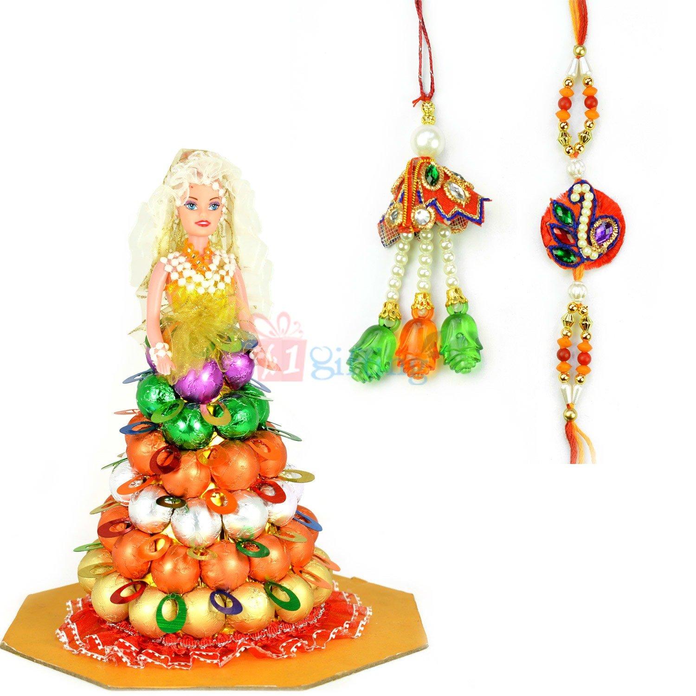 Pearl Beads Bhaiya Bhabhi Rakhi with Chocolate Doll