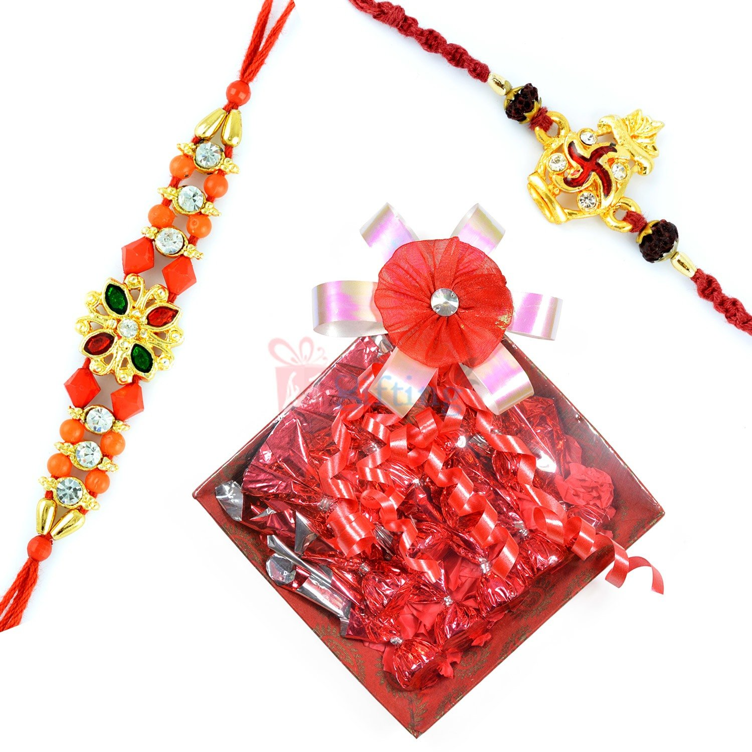 Diamond Golden 2 Rakhi Set with Chocolate Gift