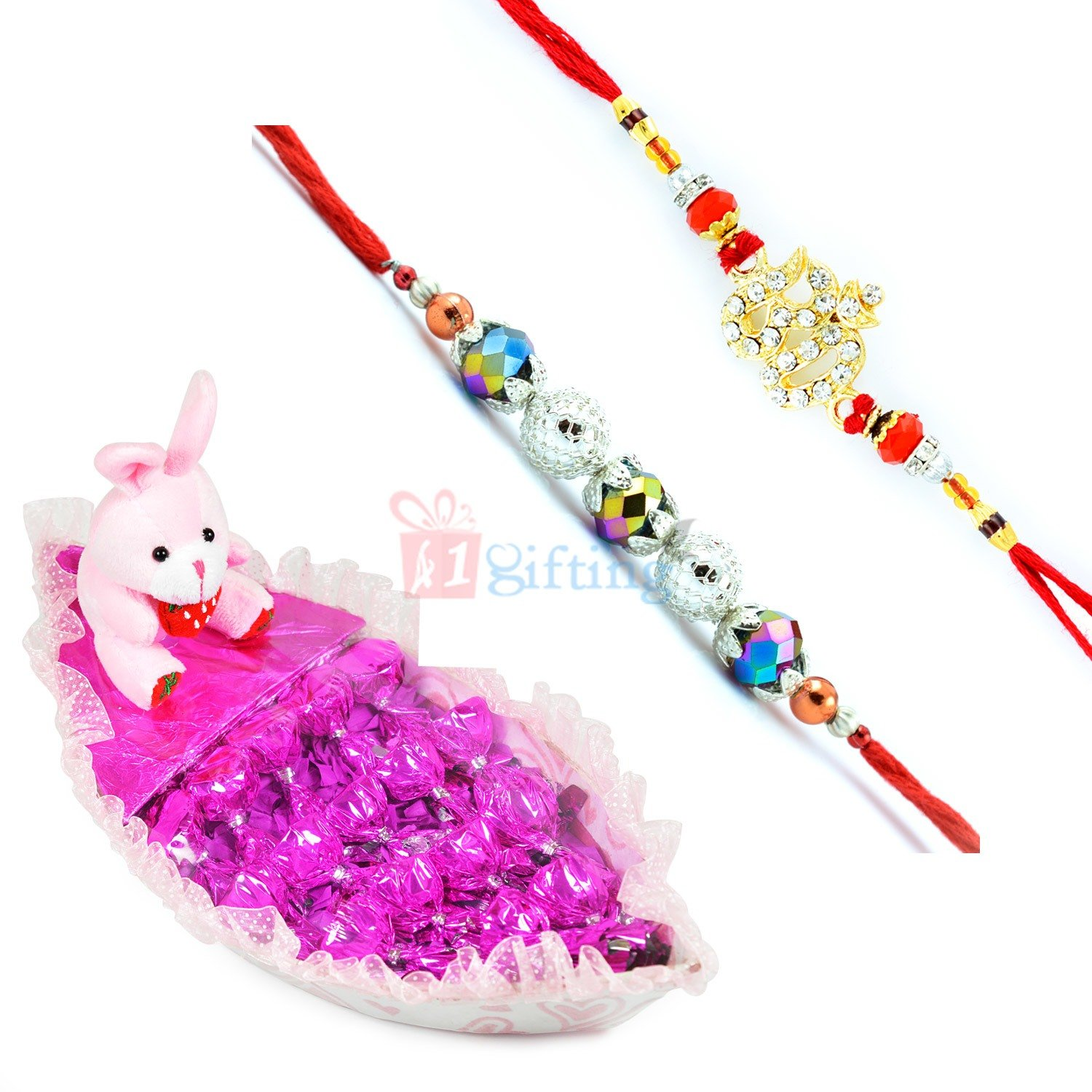 Om Beads 2 Rakhi Set with Teddy Chocolate Boat