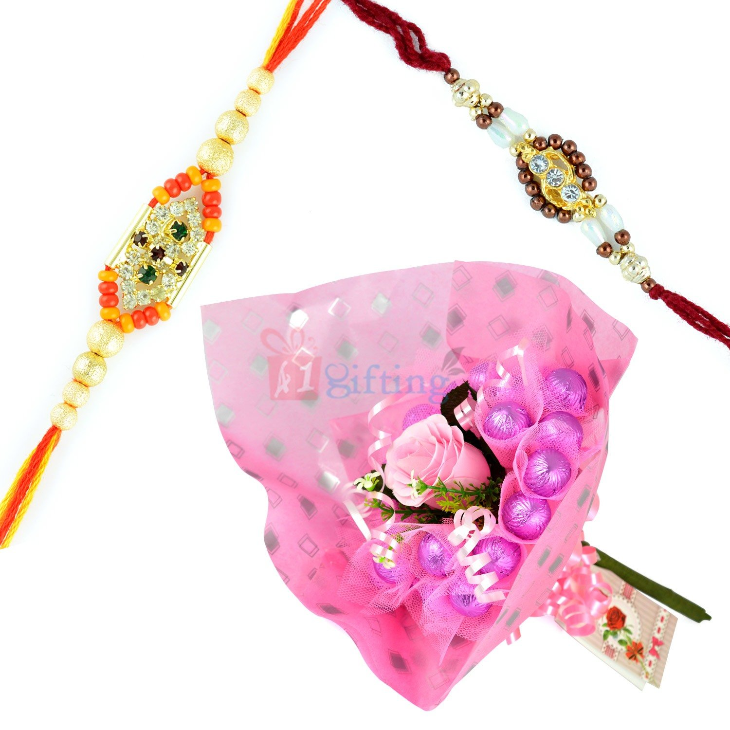 Beautiful 2 Rakhi Set with Chocolate Bouquet