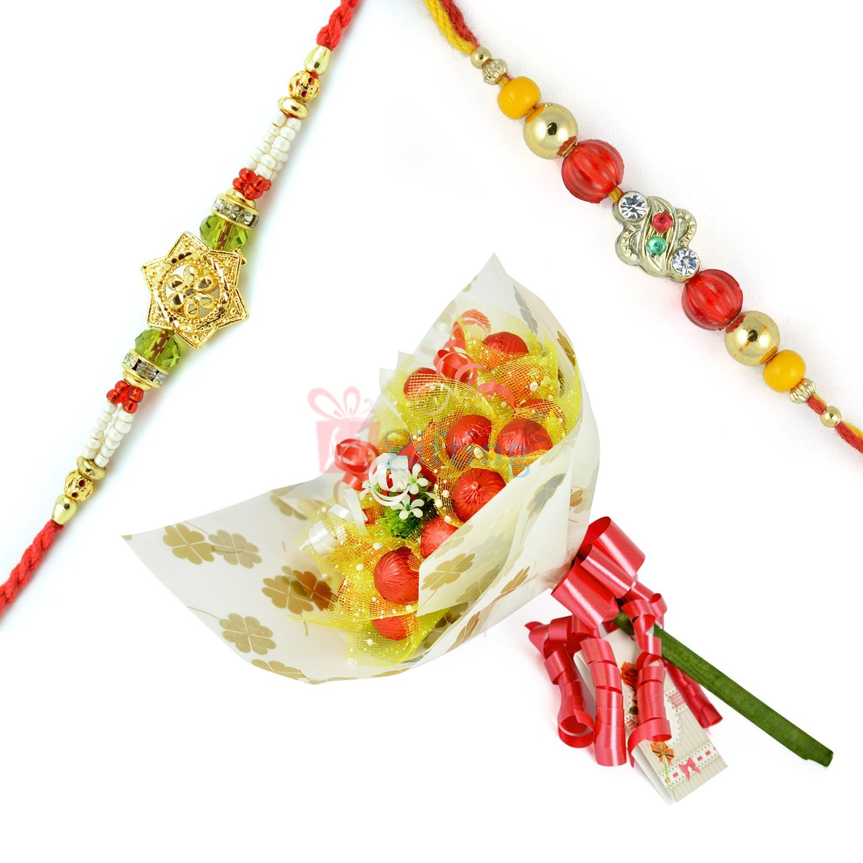 Golden Diamond 2 Rakhi Set with Chocolate Bouquet