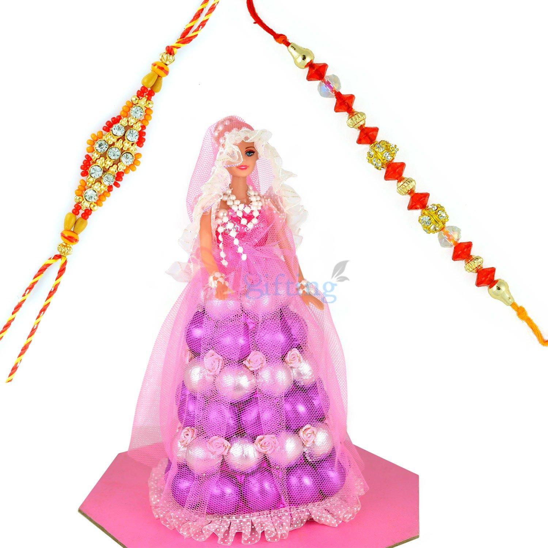 Diamond Beads 2 Rakhi Set with Chocolate Doll