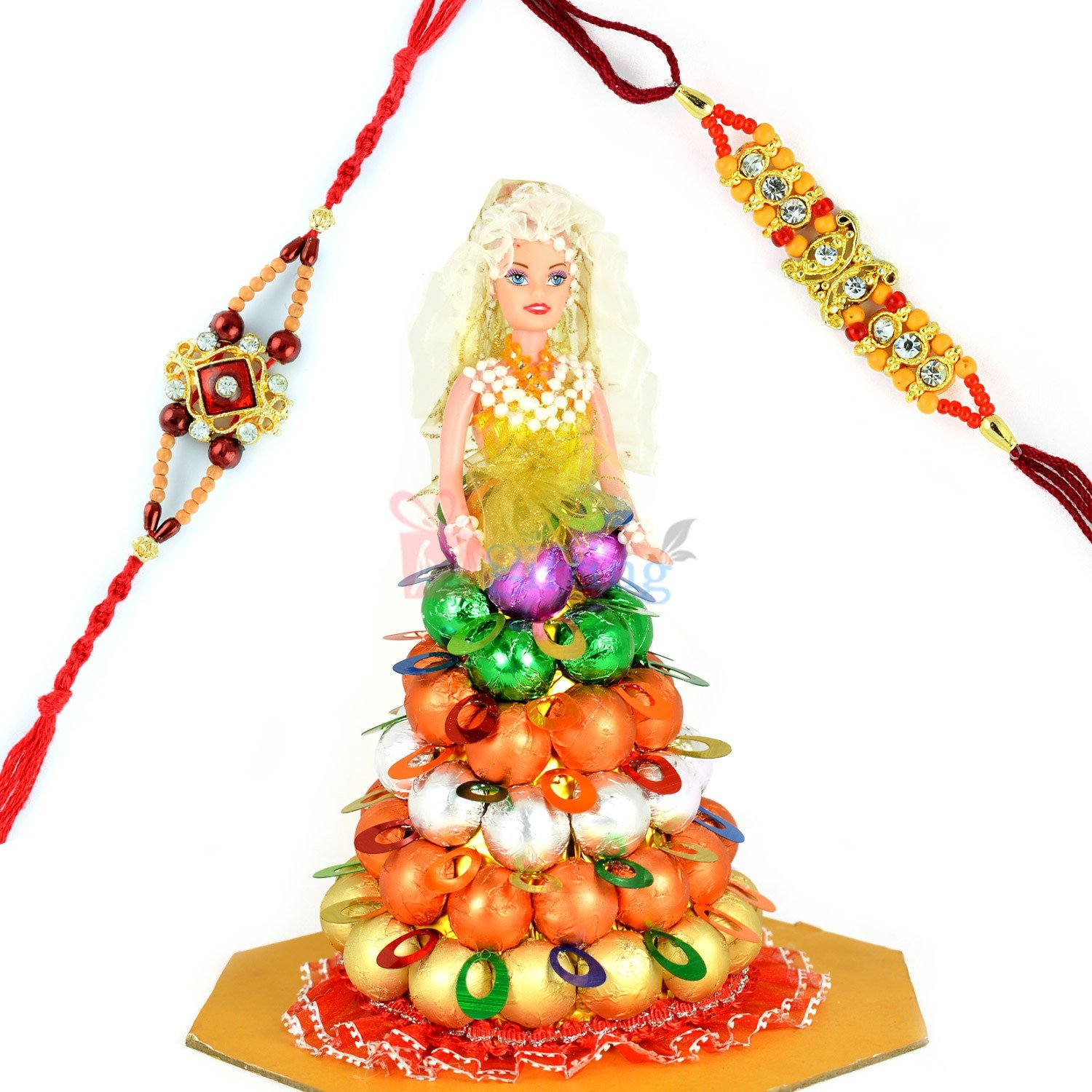 Beautiful Chocolate Barbie Doll with 2 Rakhi Set