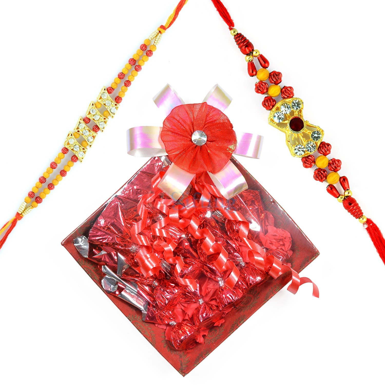 Liner Beads 2 Rakhis with Chocolate Gift for Brother