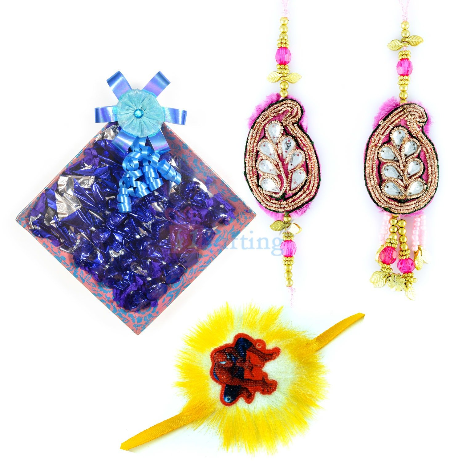 Pair and Kids Rakhi with Chocolate Gift for Brother