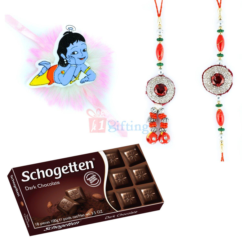 Rakhi Set of 3 with Chocolate Gift