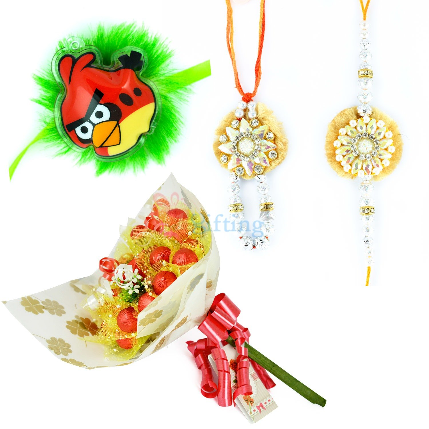 Floral Pair and Kids Rakhi with Chocolate Bouquet
