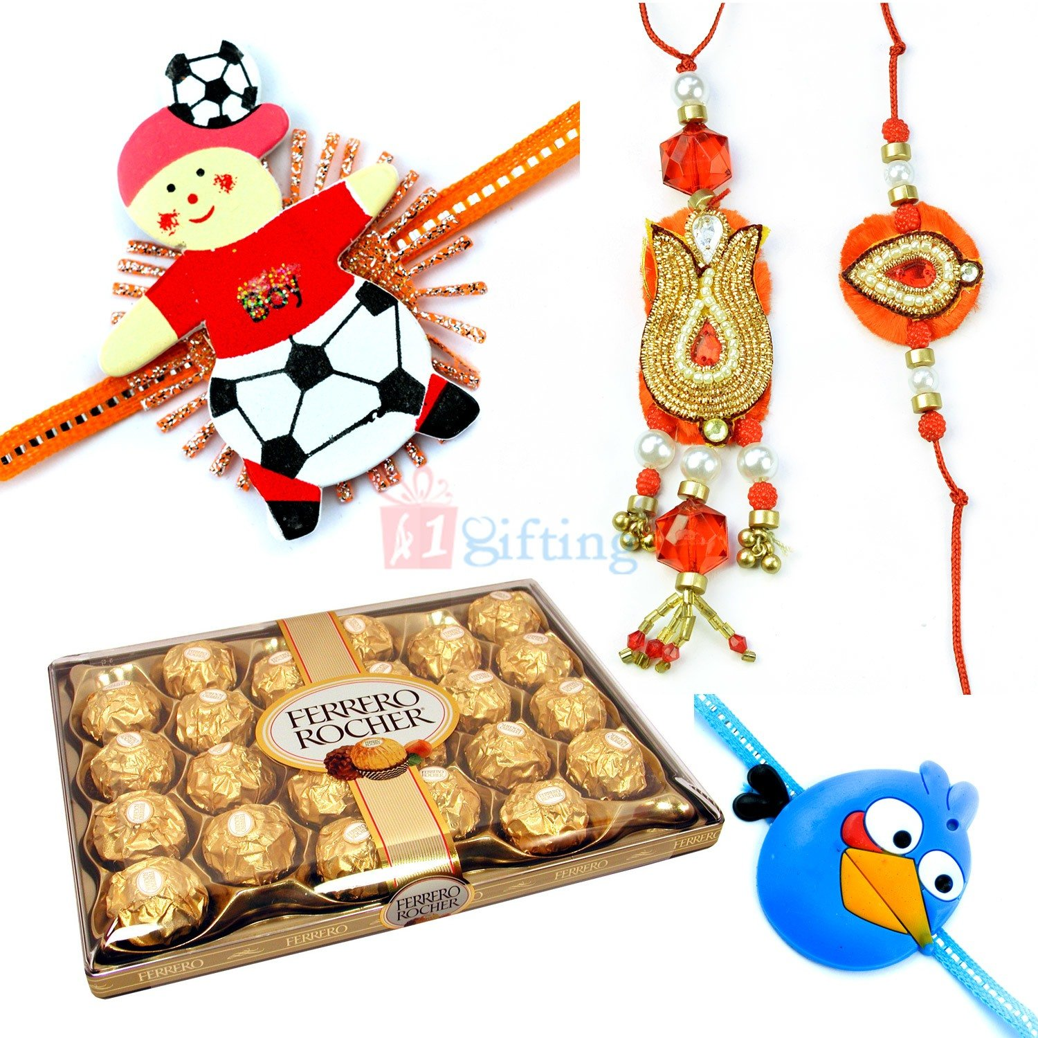 Beautiful Rakhis with Ferrero Rocher 24 Chocolate