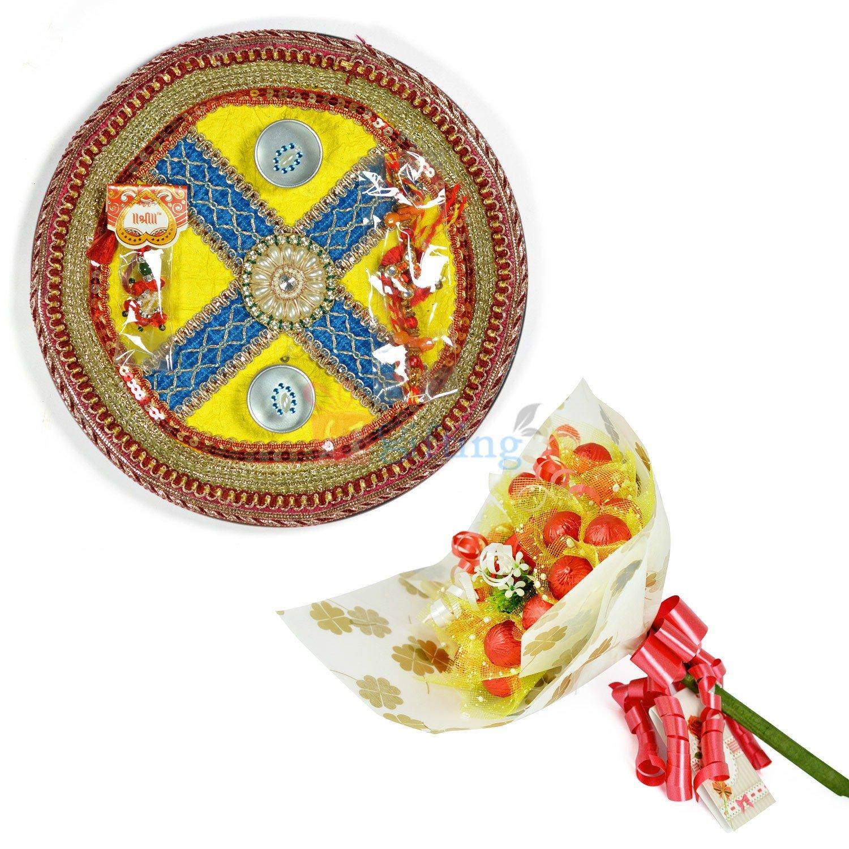 Pearl Flower Rakhi Pooja Thali with Chocolate Hamper