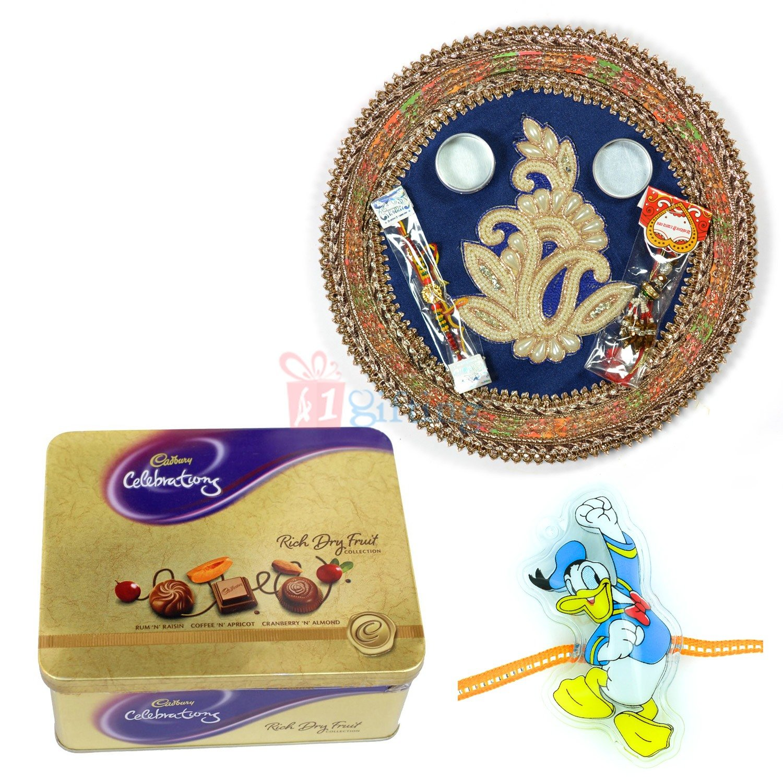 Amazing Pearl Pooja Thali with Chocolate and Kids Rakhi