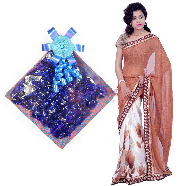 Chiffon Silk Saree with Chocolate Square Gift Pack