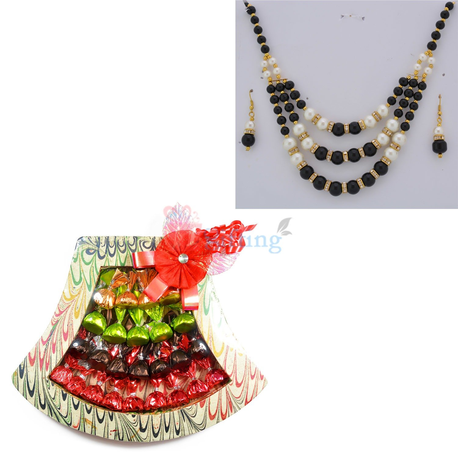 Beads Necklace Earning with Chocolate Bouquet