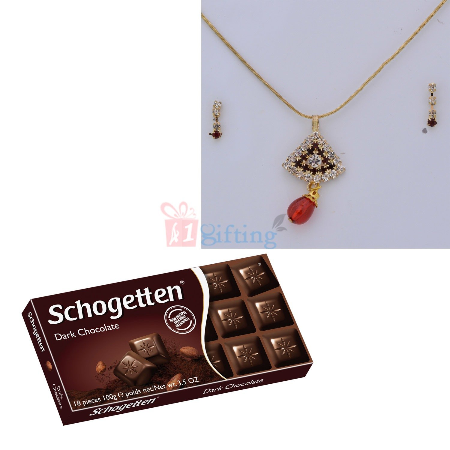 Diamond Locket Chain Earing with Dark Chocolate