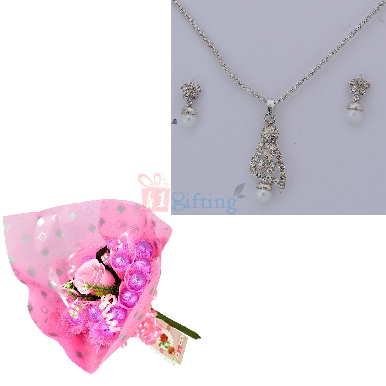 Diamond Pearl Jewellery with Chocolate Bouquet