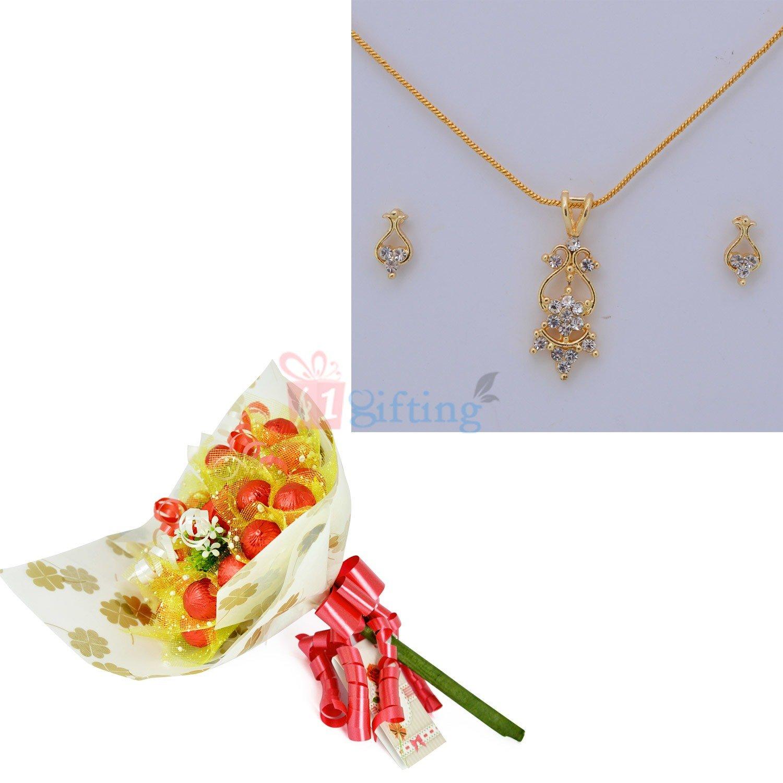 Diamond Golden Jewellery with Cherry Chocolate Boquet