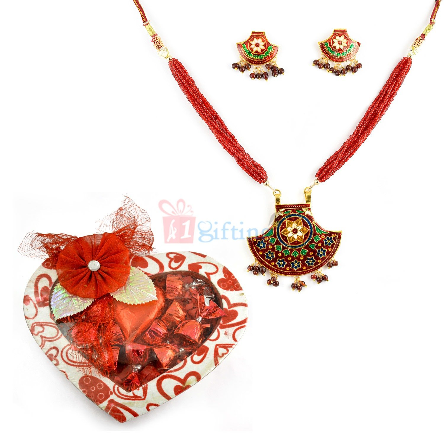 Amazing Jewellery with Heart Chocolate Gift