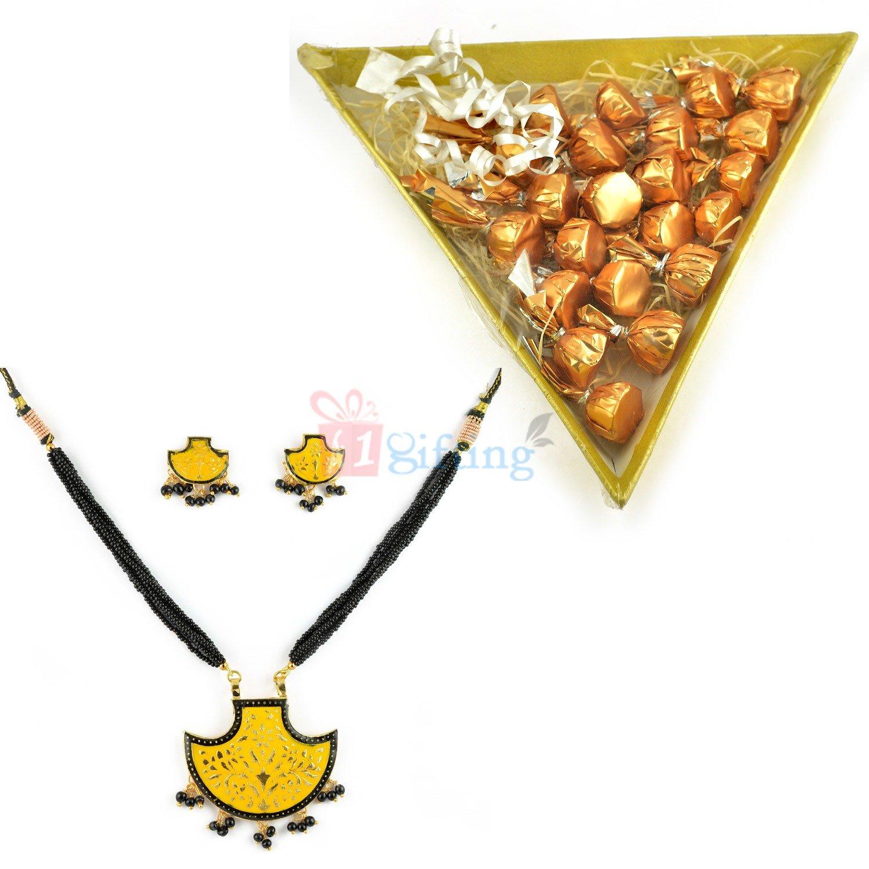 Beautiful Jewellery Gift with Tri Chocolate