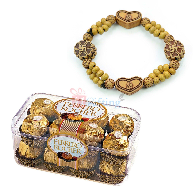 Swastik Om Bracelet with Ferrero Rocher 16 Pcs Chocolate