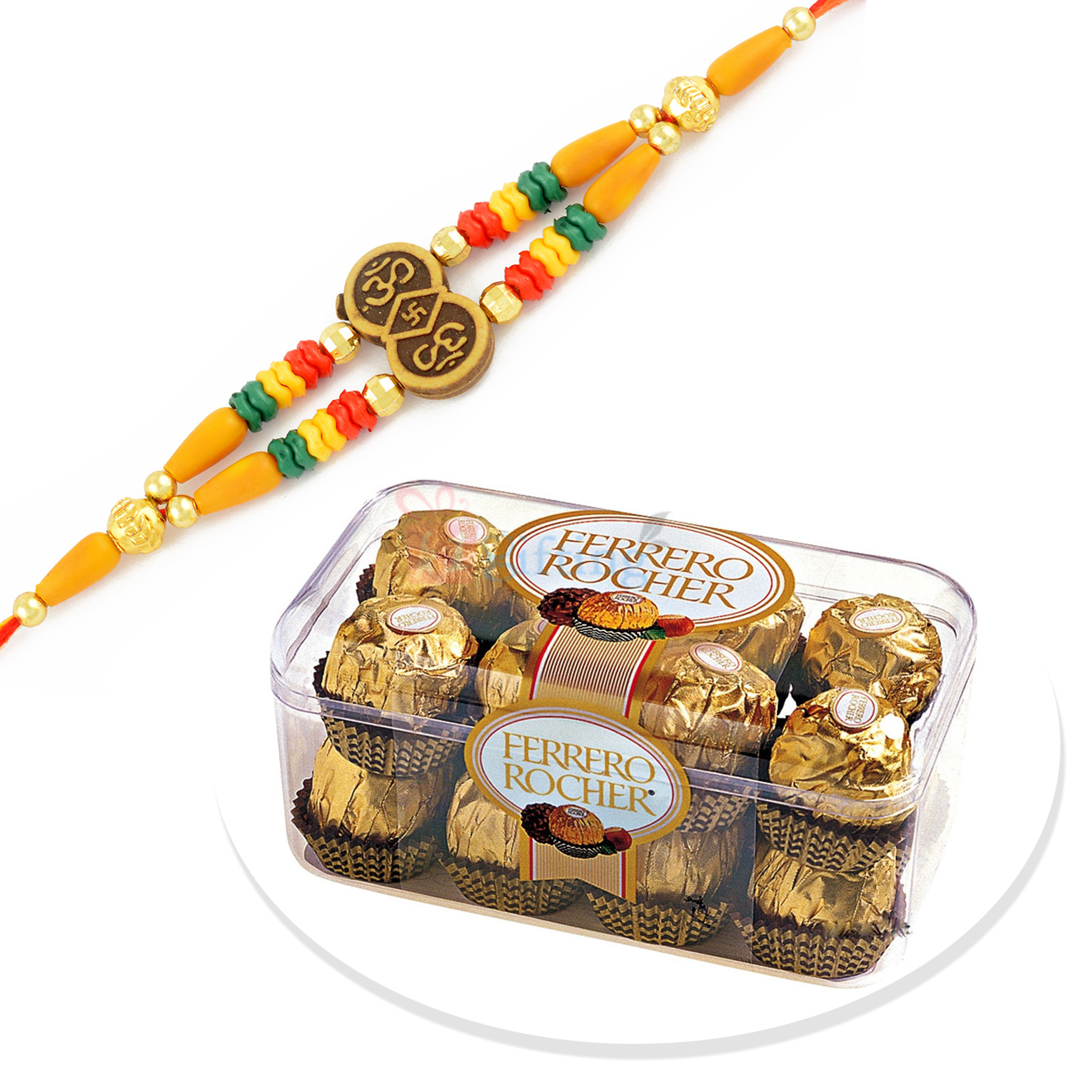 Auspicious OM Beaded Rakhi with 16 Pc Ferrero Rocher Chocolate