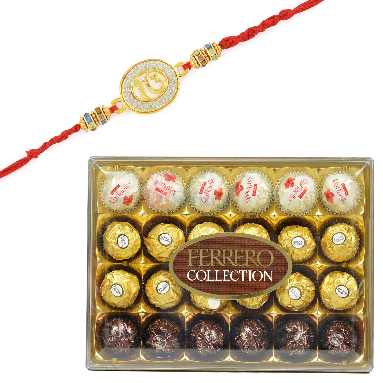 Ferrero Rocher 20 Pc Box with Ek Onkar Sikh Rakhi Set