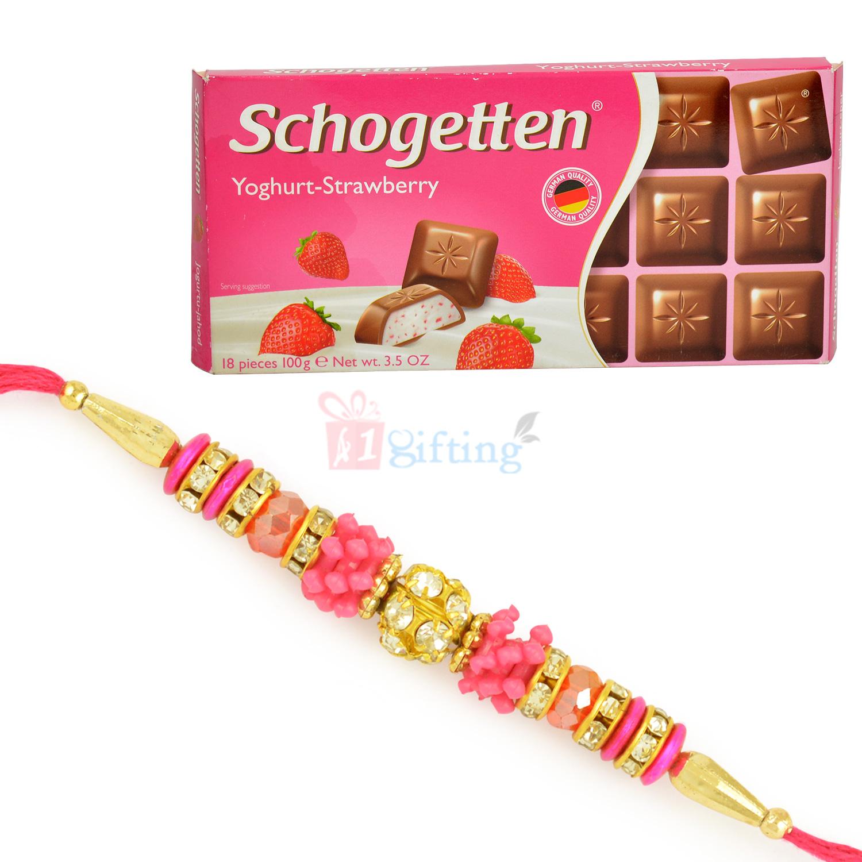 Yoghurt Srawberry Schogetten Chocolate and Beautiful Beads Rakhi