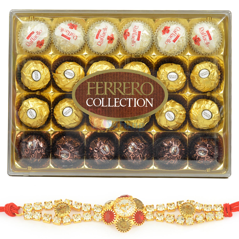 T-24 Ferrero Collection Chocolate and Diamond Rakhi Hamper