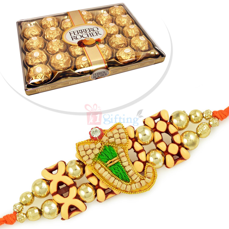 Sandalwood Ganesha Rakhi with 24 Pcs Ferrero Rocher Chcolate Box