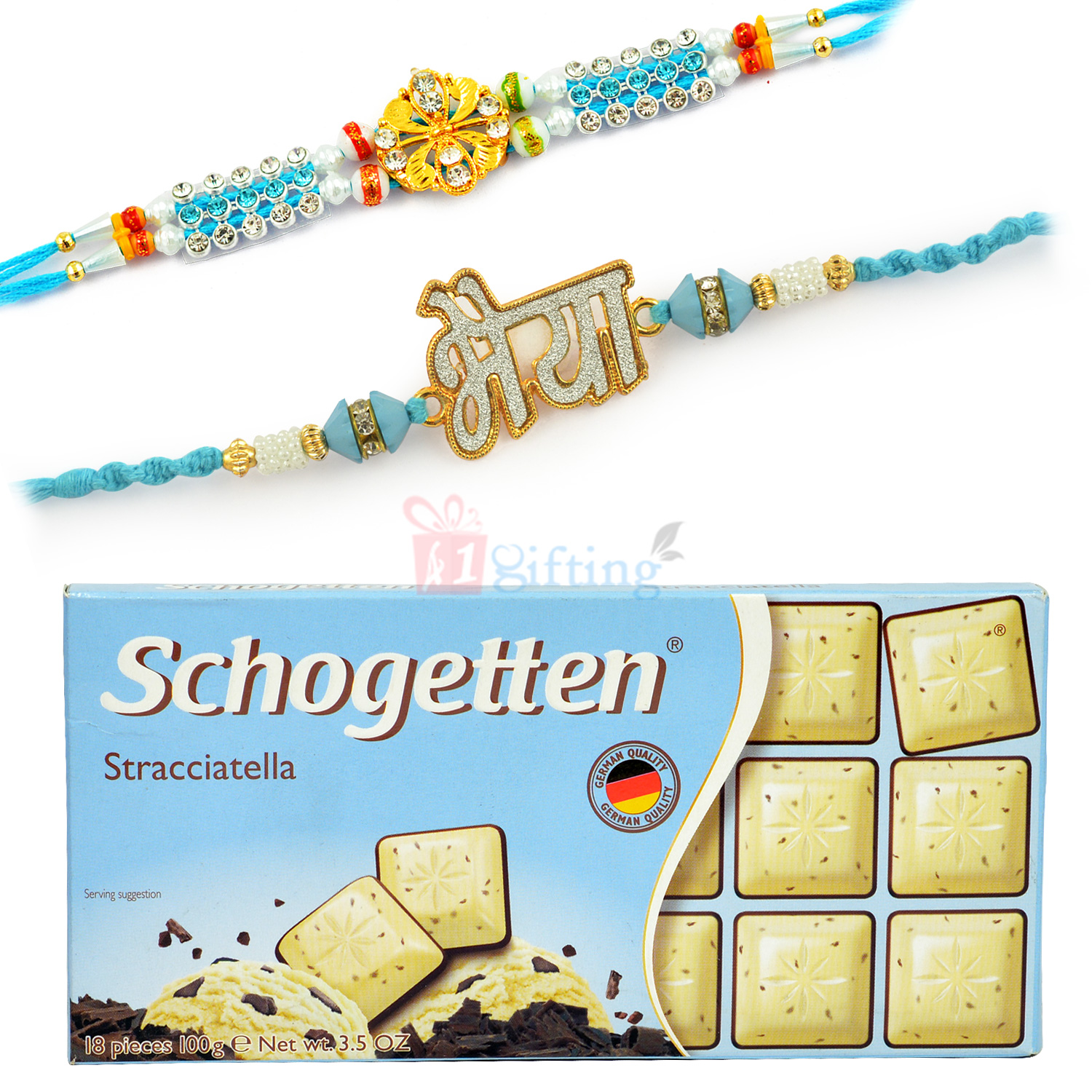 Bhaiya AD Rakhi and Diamond Rakhis with Schogetten Chocolate
