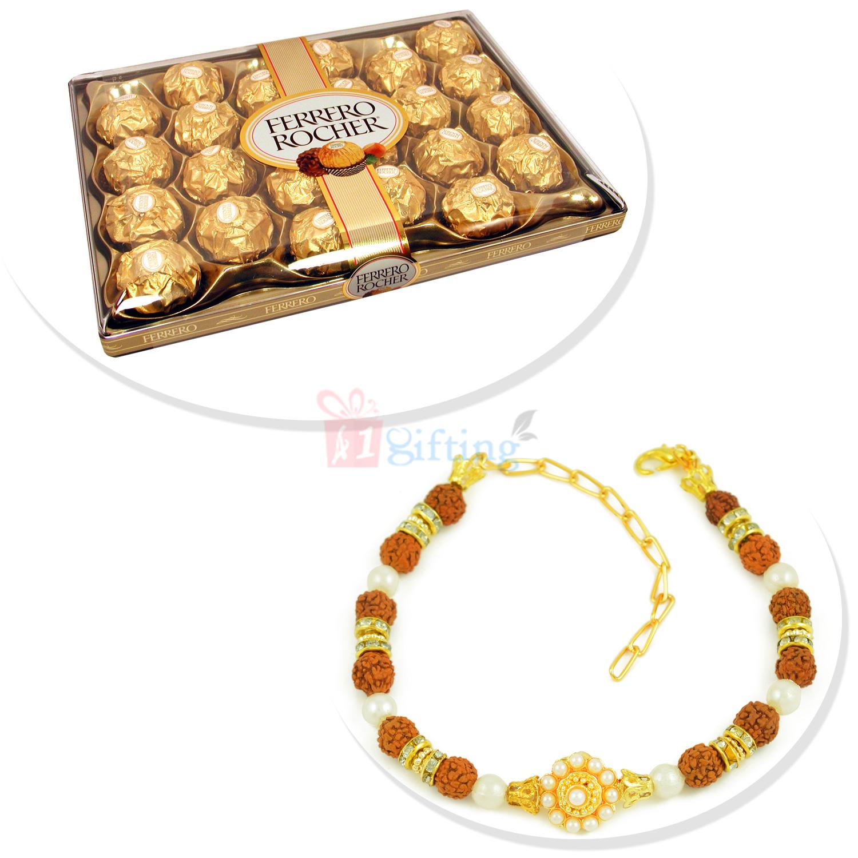 Rudraksha Pearl Beautiful Bracelet with T24 Ferrero Rocher