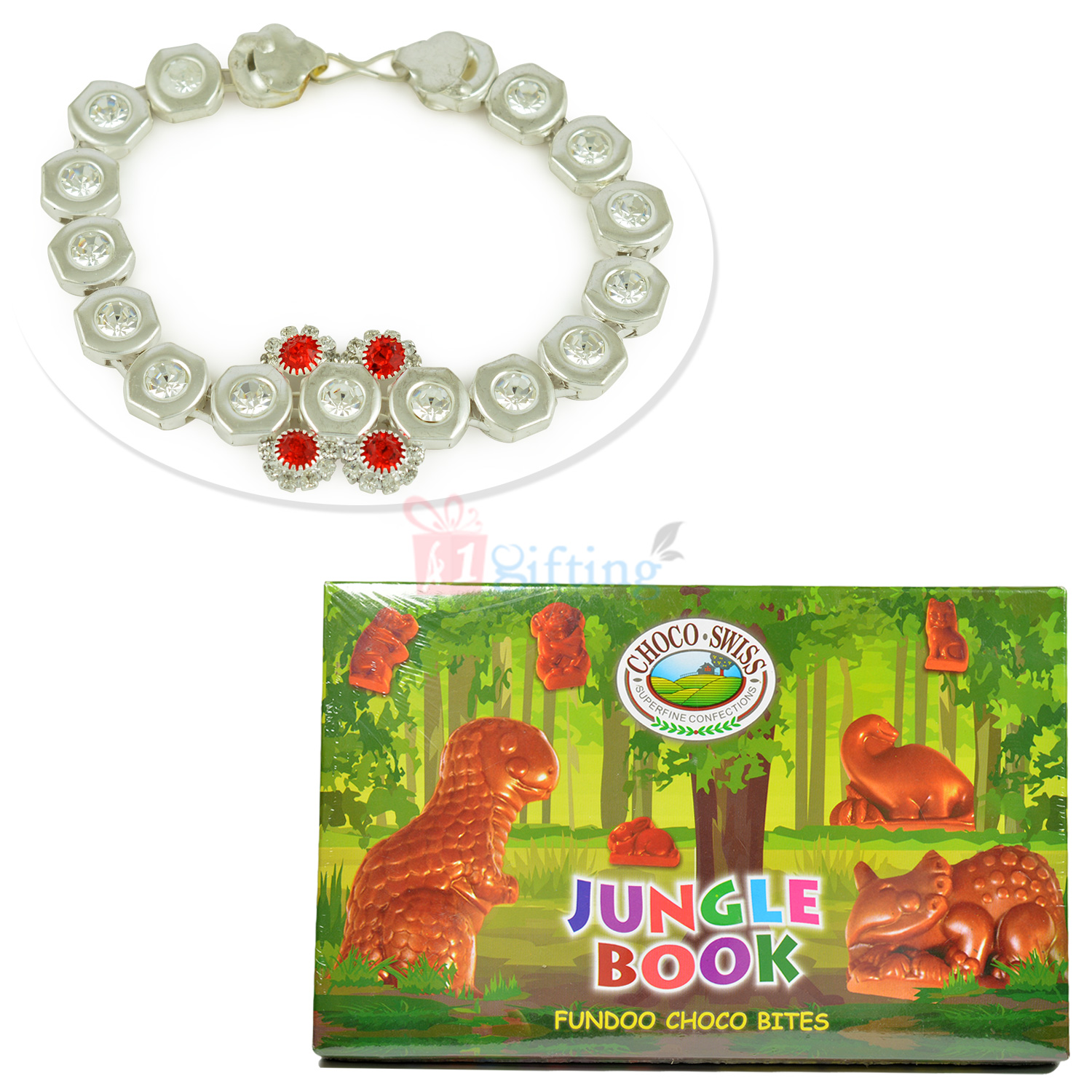 Choco Swiss Jungle Book Pack with Silver Look Awesome Bracelet