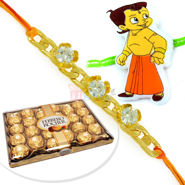 Jewel Bracelet Rakhi with Chhota Bheem and T24 Ferrero Rocher