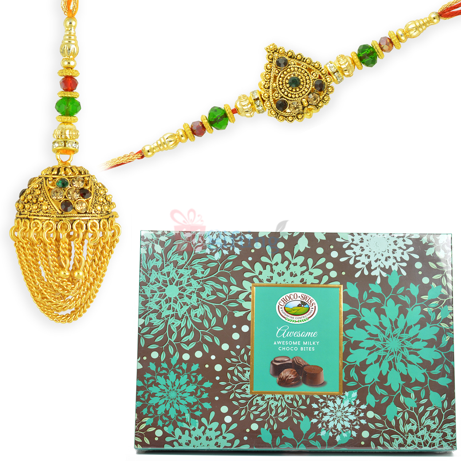 Milky Choco Swiss Pack with Antique Pair Rakhi Set