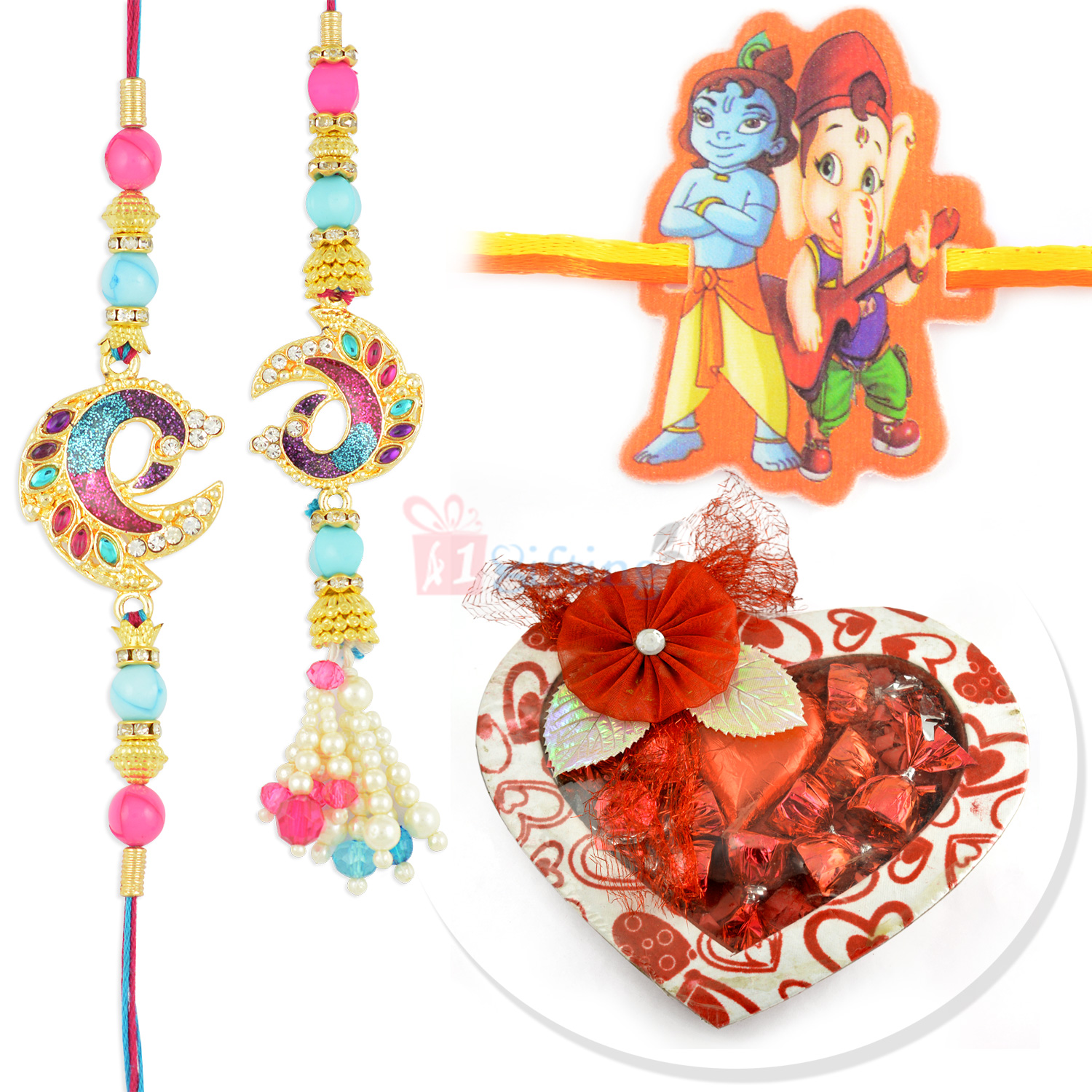 Awesome Peacock Pair and Kids Rakhi with Handmade Chocolate