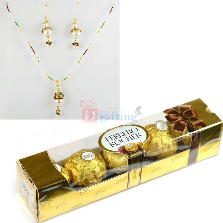 Pearl Locket Earings with Ferrero Rocher T4 Chocolates Combo