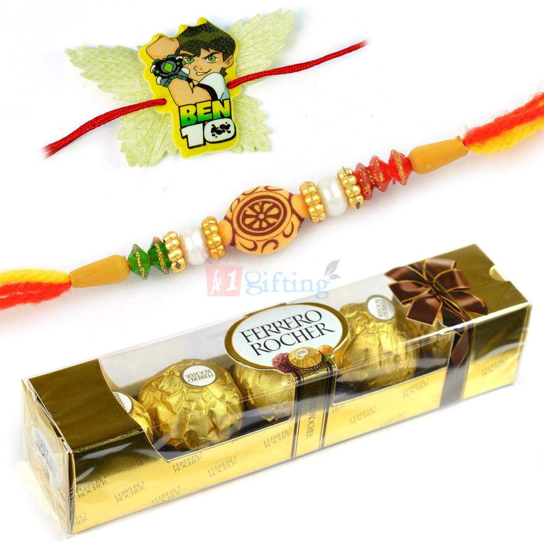 T4 Ferrero Rocher with Set of Brother and Ben10 Kids Rakhi Hamper