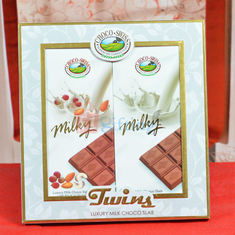 Choco Swiss Twins Luxury Milk Choco Slab