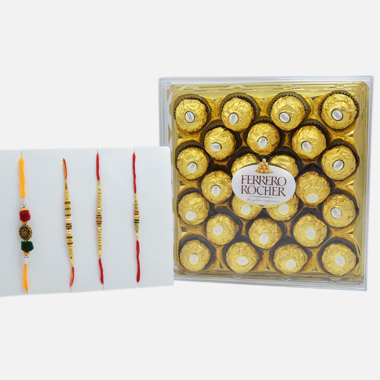 Rakhi Bond Set of 4 with Ferrero Rocher (24 pcs)