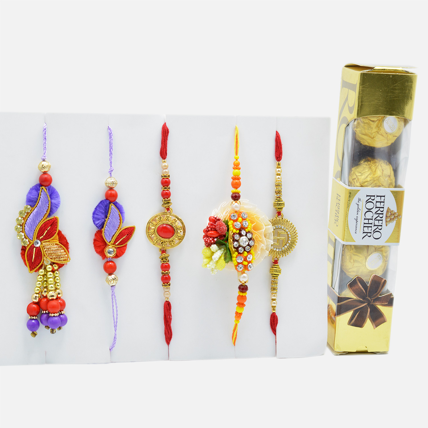 Traditional Rakhi Set of 4 with Mouth-Watering Ferrero Rocher (4 pcs)