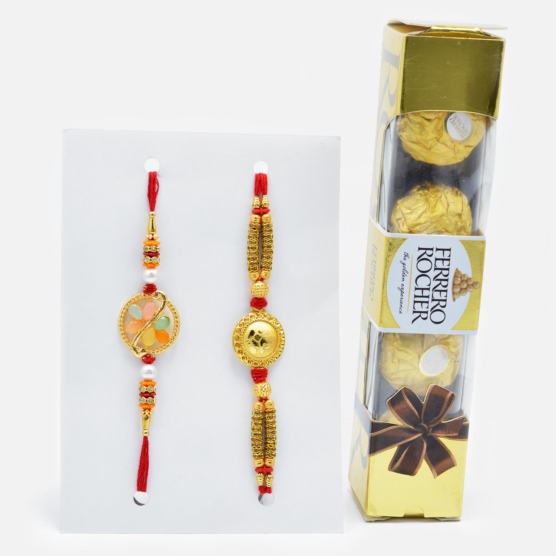 Golden Rakhi Set of 2 with Ferrero Rocher (4 pcs)