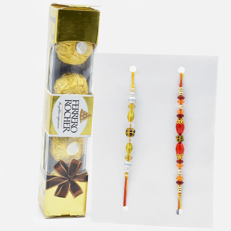 Elegant Rakhi Set of 2 with Italian Ferrero Rocher (4 pcs)