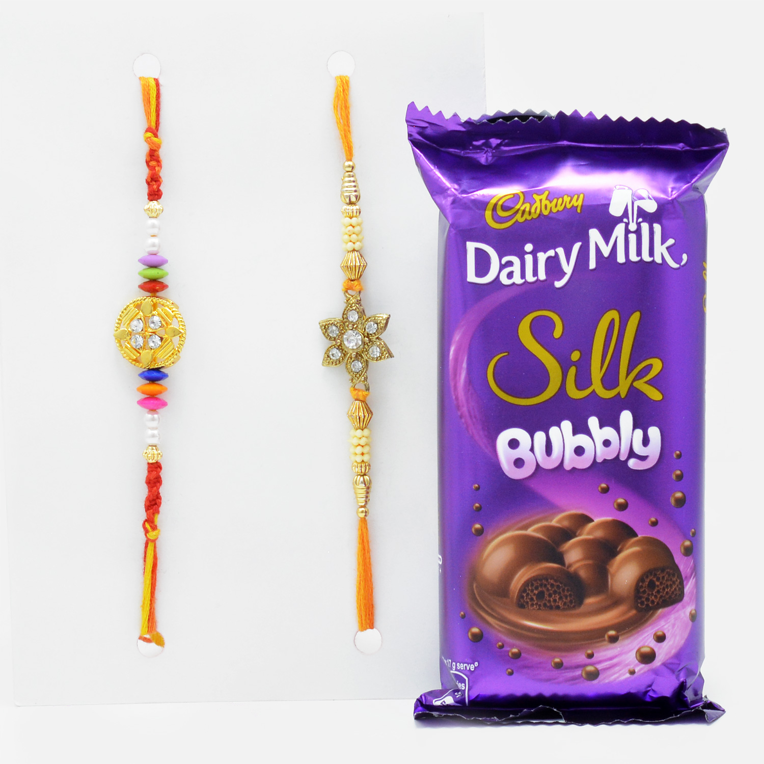 Beautiful Floral Designer Rakhi Set of 2 with Amazing Cadbury Dairy Milk Silk Bubbly