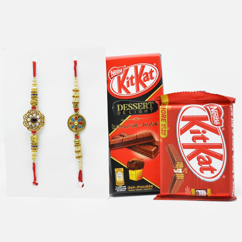 Designer AD Work Rakhi Set of 2 with Amazing Kit-Kat Chocolates