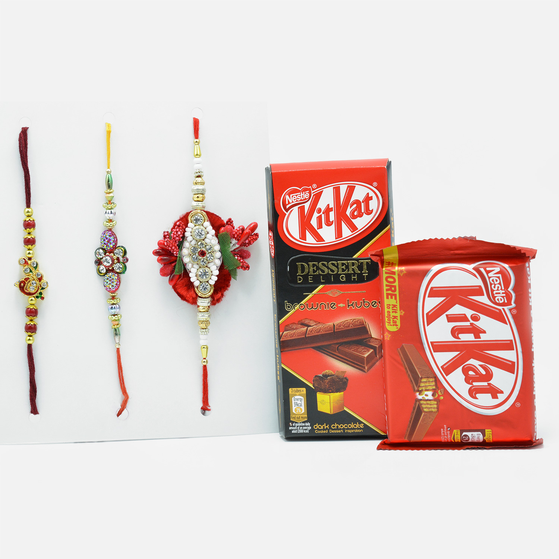 Beautiful  Rakhi Set of 3 with Kit-Kat Chocolates