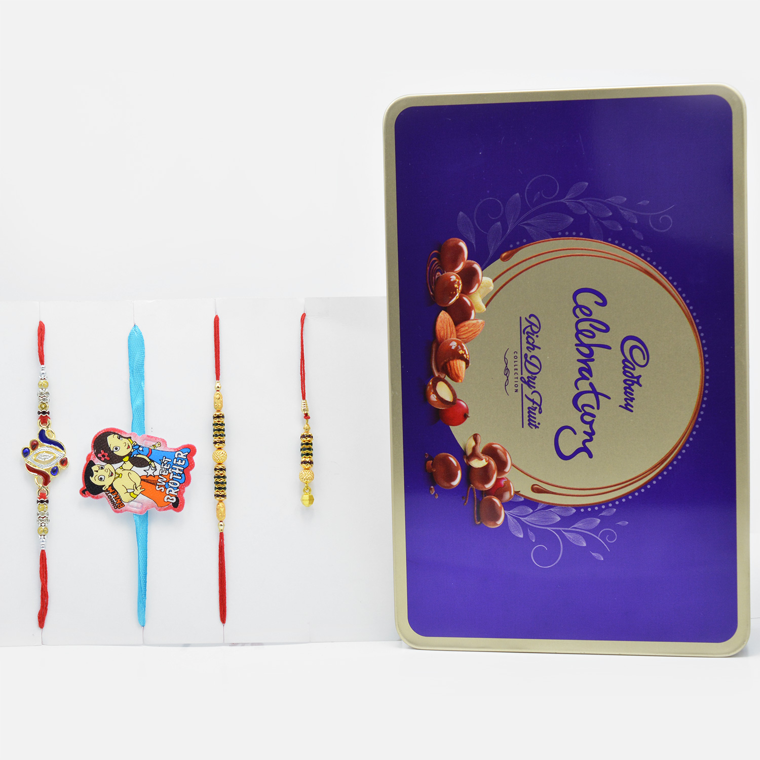 Exquisuite Rakhi Set of 4 for Family with Tempting Cadbury Celebration Rich Dry Fruit Chocolate Collection