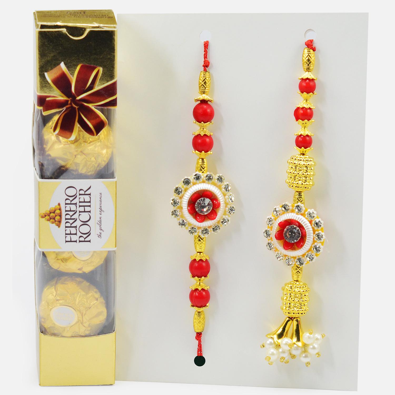 Flower Shape Diamond Bhai and Bhabhi Rakhi with Pack of Ferrero Richer Brand Chocolate