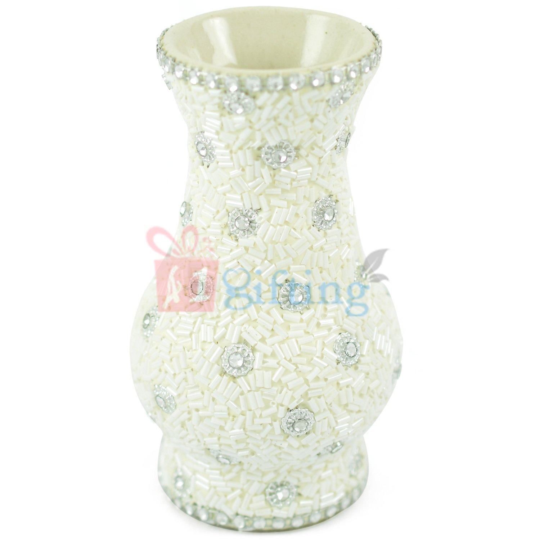 Amazing Diamond Studded White Flower Pot