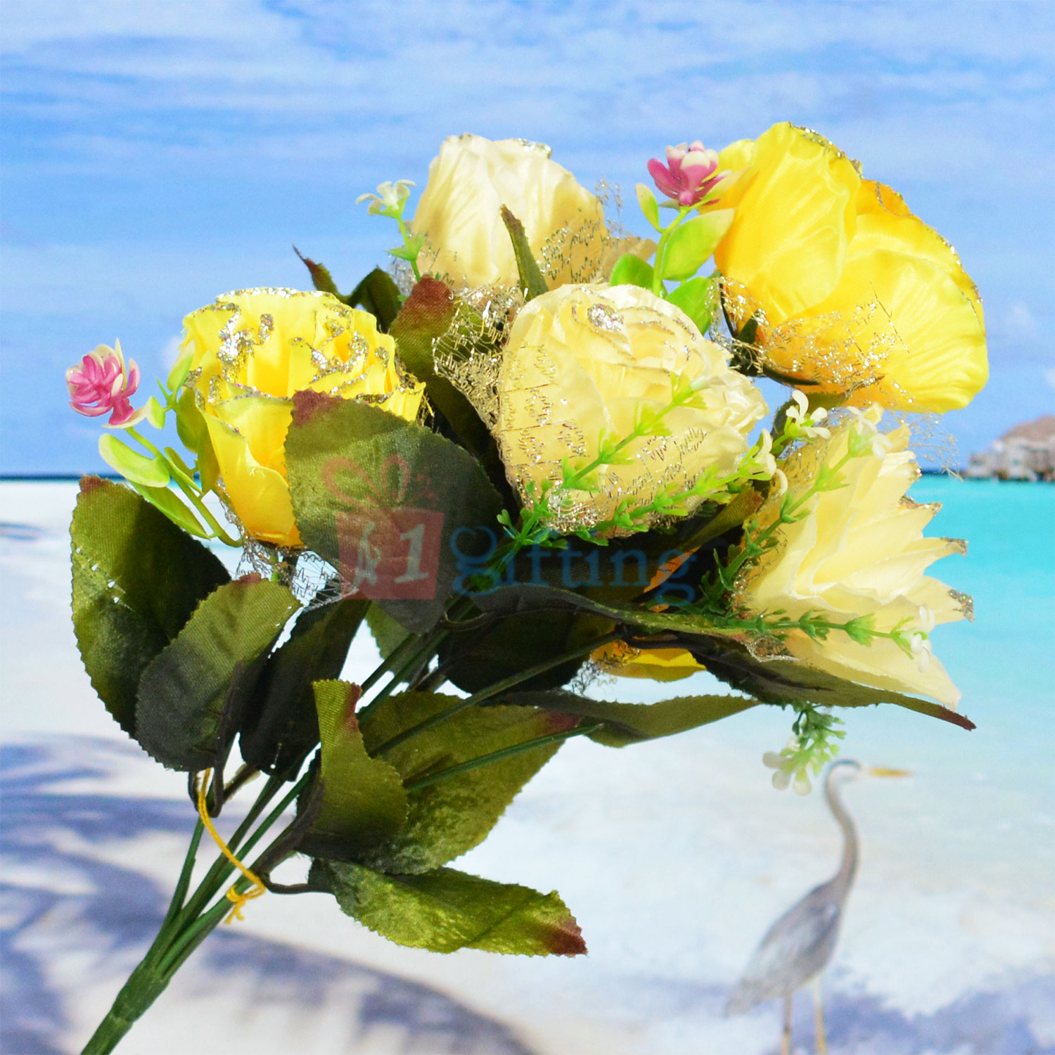 Awesome Yellow Roses Artificial Flower Bouquet