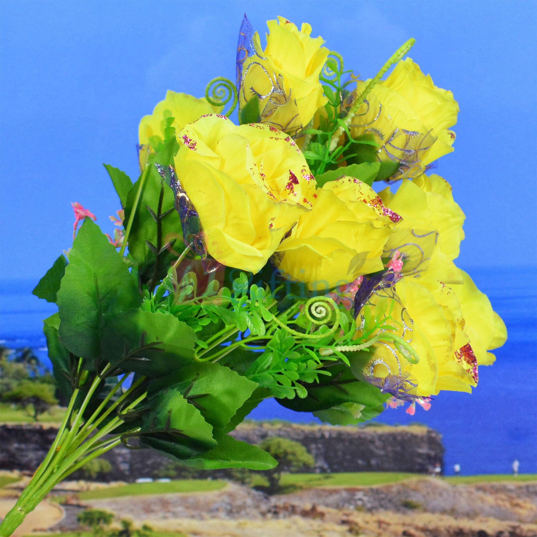 Yellow Artificial Flower Bouquet for Pot