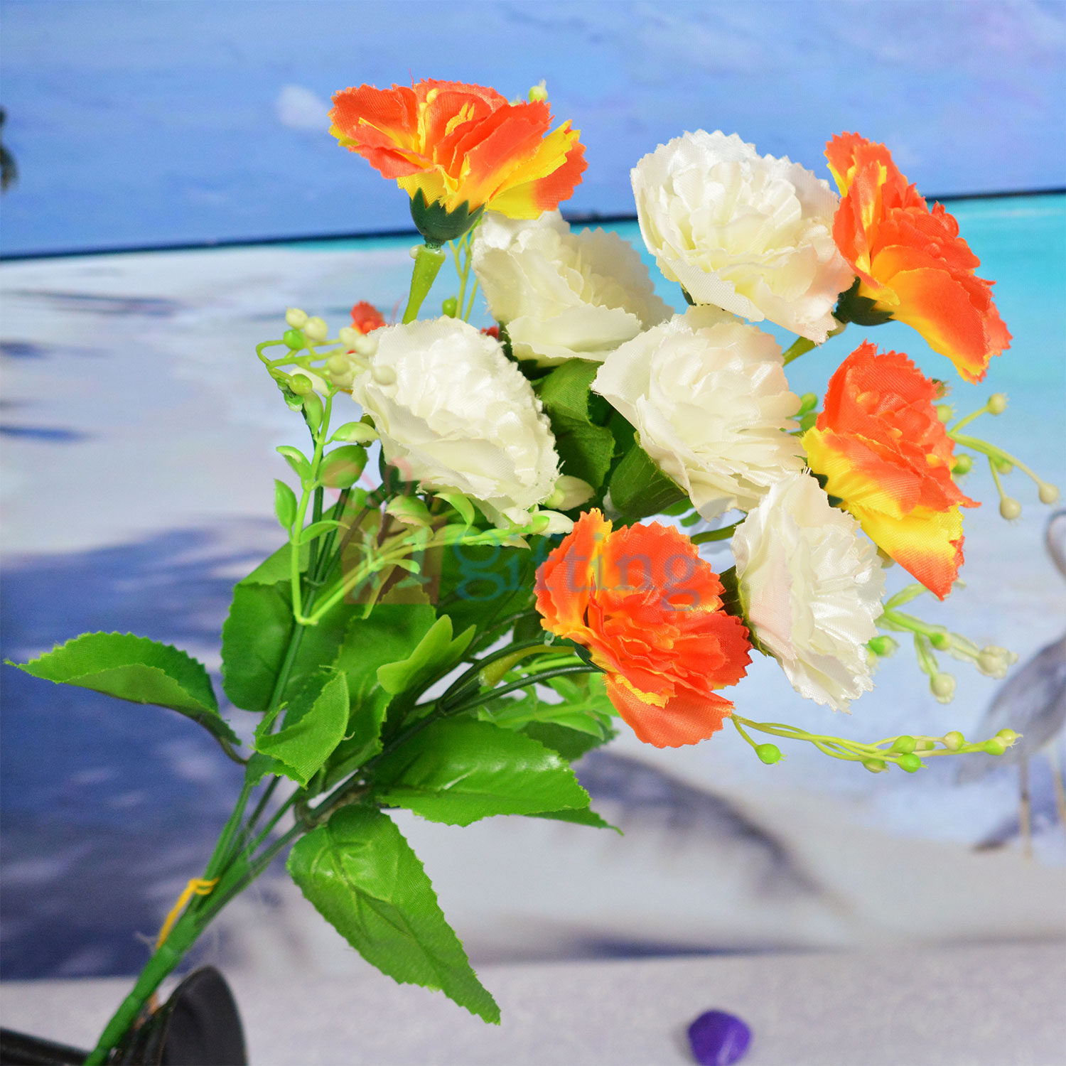 Beautiful Orange and White Artificial Flower Plant